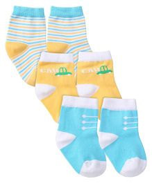 Mustang Ankle Length Socks Pair of 3 - Aqua Blue Yellow White