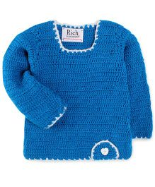 Rich Handknits Full Sleeves Sweater - Teal Blue