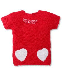 Rich Handknits Half Sleeves Pullover Sweater With Heart Design - Red