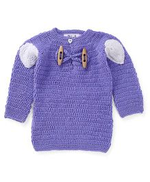 Rich Handknits Full Sleeves Sweater - Blue