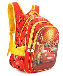 Disney Cars Kids School Bag Red Yellow - 17 Inches