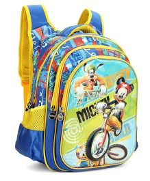 Disney Mickey And Friends School Bag Blue Gold - 17 Inchhes
