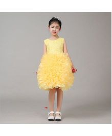 Funky Baby Lace Work With Puffy Skirt - Yellow