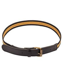 NeedyBee Canvas Belt With Leather Tip For Kids - Yellow