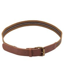 NeedyBee Canvas Belt With Leather Tip for Kids - Brown