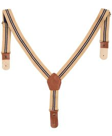NeedyBee Y Back Button End Suspender For Kids With Wide Strap - Brown