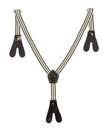 NeedyBee Wide Strap Y Back Button End Suspender For Kids - White & Black