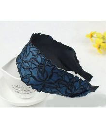 Flaunt Chic Wide Lace Head Band - Blue