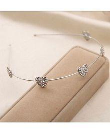 Flaunt Chic Diamond Hearts Hair Band - Silver