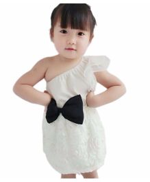Cherubbaby One Shoulder Lace Bow-Knot Dress - White