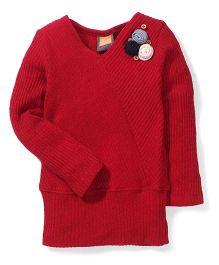 Little Kangaroos V Neck Sweater Top - Maroon