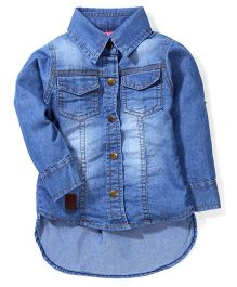 Little Kangaroos Full Sleeves Denim Shirt  - Light Blue