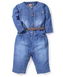 Little Kangaroos Full Sleeves Jumpsuit Style Romper With Belt - Light Blue