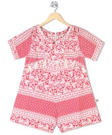 Budding Bees Short Sleeves Printed Jumpsuit - Pink White