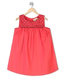 Budding Bees Sleeveless Frock Embroidery - Red