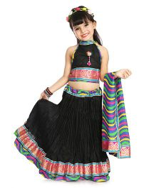 Little Pockets Store Crush Lehenga Set - Black
