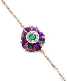 Soulfulsaai Fabric Flower Rakhi - Purple