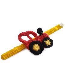 Soulfulsaai Kids Crochet Tractor Rakhi - Pink