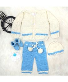 The Original Knit Sweater Pajama Booties & Cap Set - Off White & Blue