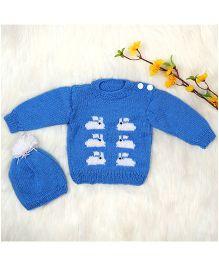 The Original Knit Sweater & Cap Set - Light Blue