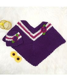The Original Knit Poncho & Cap - Purple