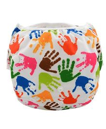 Wanna Party Swim Diaper Little Hands Print Large - Multicolor