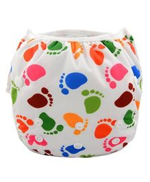 Wanna Party Swim Diaper Tiny Feet Print Large - Multicolor