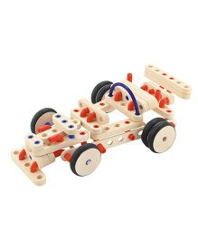 Sevi System Road Vehicles Wooden Construction Kit - Cream Red Blue