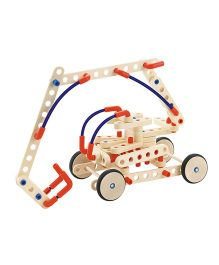 Sevi System Work Vehicles Wooden Kit - Cream Red Blue