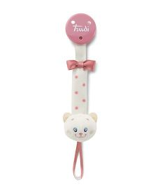 Trudi Soother Holder Kitty Design - Pink And Off White