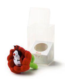 Trudi Sw Col Ladybug Flower Soft Toy Red & Green - 9 cm