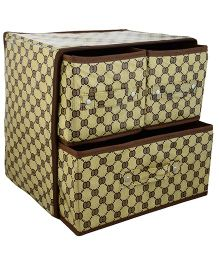 Home Union Foldable Storage Box With 3 Drawers - Beige