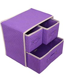 Home Union Foldable Storage Box With 3 Drawers - Purple