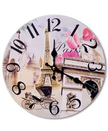 Home Union Designer Vintage Wall Clock - Pink And Beige
