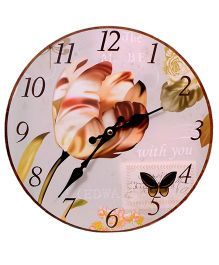 Home Union Designer Vintage Wall Clock - Brown And White