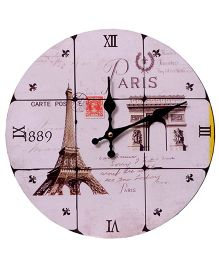 Home Union Designer Vintage Wall Clock - White And Brown