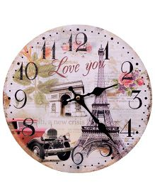 Home Union Designer Vintage Wall Clock - Red And White