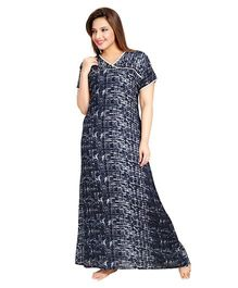 Eazy Printed Half Sleeves Cotton Nursing Nighty - Blue