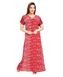 Eazy Printed Half Sleeves Cotton Nursing Nighty - Red