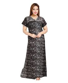 Eazy Printed Half Sleeves Cotton Nursing Nighty - Black