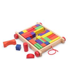 Bino Pull Along Wooden Wagon With Coloured Blocks Multicolor - 35 Pieces