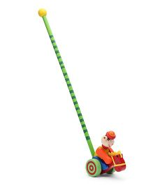 Bino Wooden Push Along Monkey - Multicolor