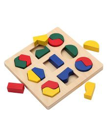 Bino Geometric Shape Wooden Puzzle Multicolor - 18 Pieces