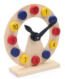 Bino Wooden Table Clock - Multicolor