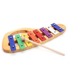 Bino Wooden And Metallic Xylophone - Multicolor