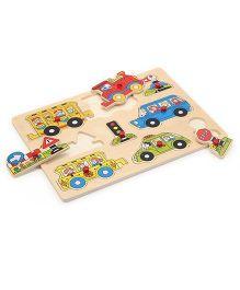 Bino Wooden Peg Puzzle Traffic Multicolor - 9 Pieces