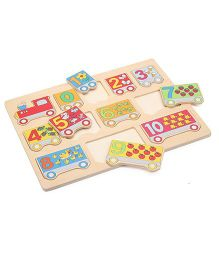 Bino Wooden Puzzle Number Train Set Multicolor - 12 Pieces