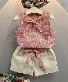 Pre Order : Lil Mantra Floral Knot Top & Shorts - Pink & Beige