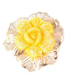 Treasure Trove Flower On Leaf Hairclip - Yellow