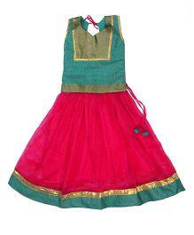 Utsa Boutique Brocade & Chiffon Lehenga Choli - Dark Pink & Sea Green